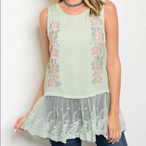 Tops - Floral Embroidered Lace Top